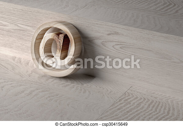 3d At On A Wooden Surface 3d Rendering Of An At Symbol On A Wooden
