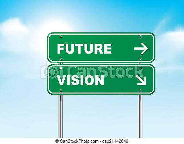 3d, avenir, route, vision, signe. bleu, isolé, signe, avenir, route