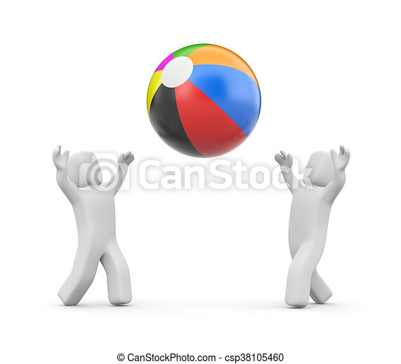 Gente jugando con pelota. Ilustración 3D - csp38105460