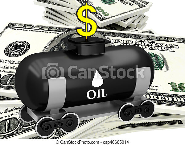 3D barrel of oil with dollars - csp46665014