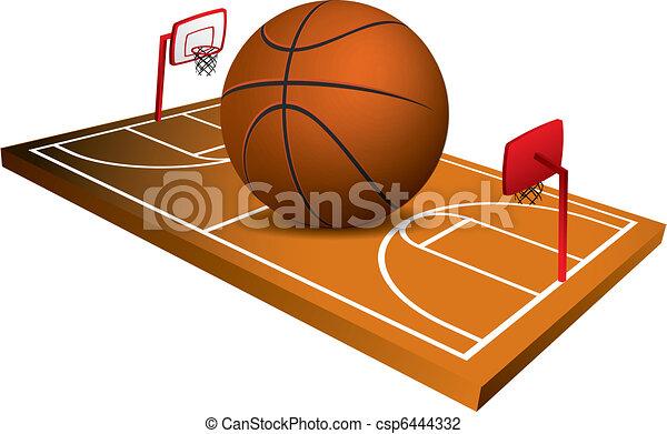 3d Basketball field vector - csp6444332