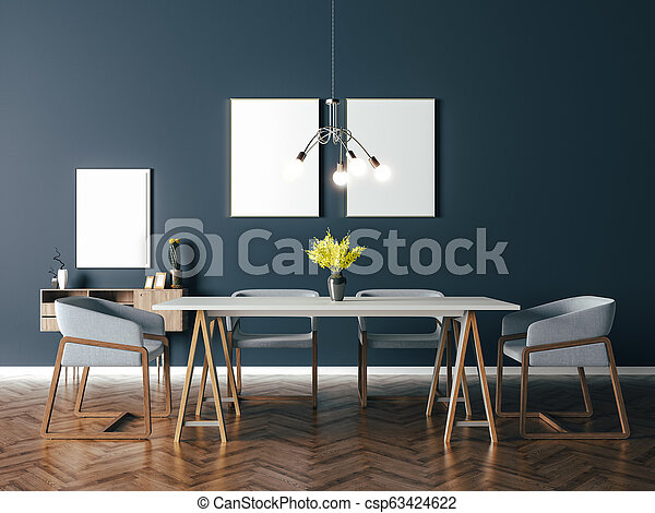 3d beautiful interior render - csp63424622
