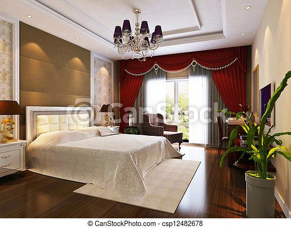 3d bedroom rendering - csp12482678