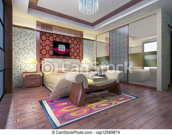 3d bedroom rendering - csp12569874