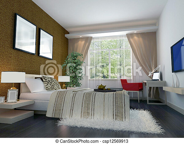 3d bedroom rendering - csp12569913