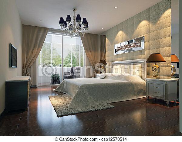 3d bedroom rendering - csp12570514