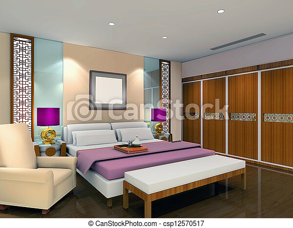 3d bedroom rendering - csp12570517