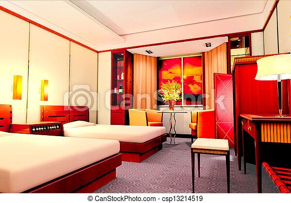 3d bedroom rendering - csp13214519