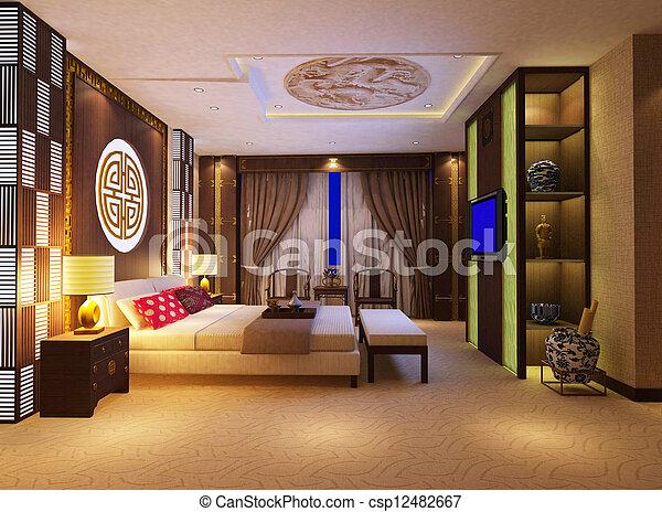 3d bedroom rendering - csp12482667