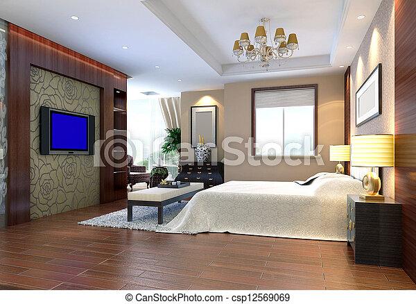 3d bedroom rendering - csp12569069