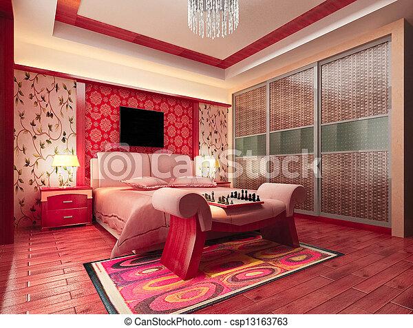 3d bedroom rendering - csp13163763