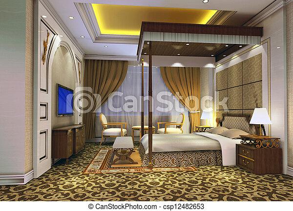 3d bedroom rendering - csp12482653