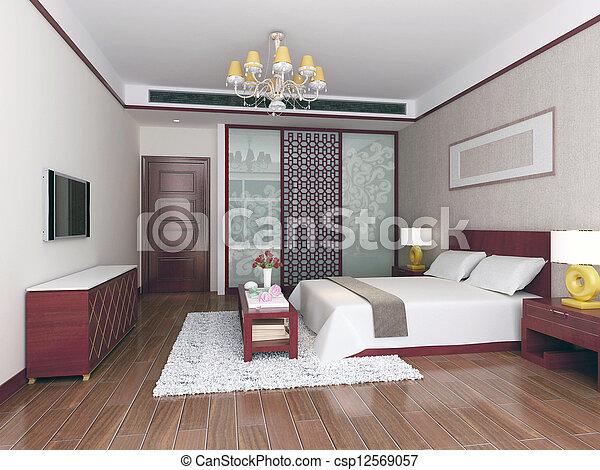 3d bedroom rendering - csp12569057