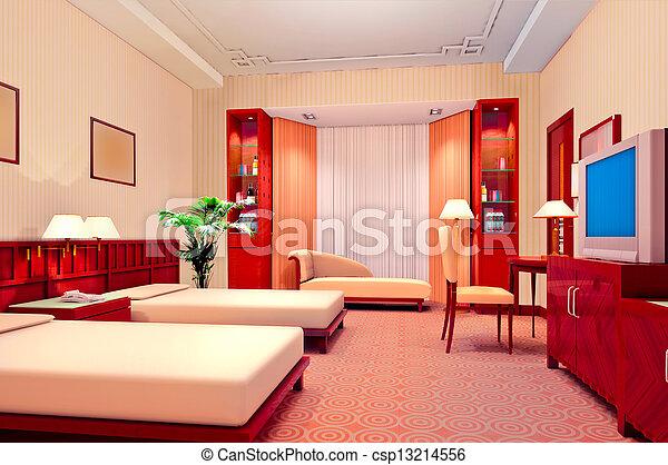 3d bedroom rendering - csp13214556