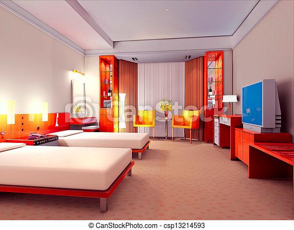 3d bedroom rendering - csp13214593