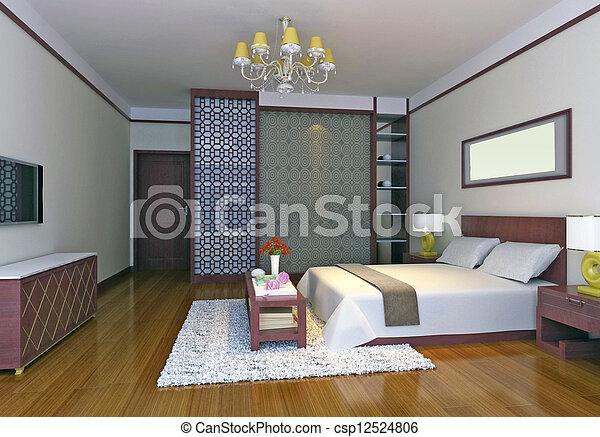 3d bedroom rendering - csp12524806