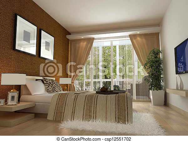 3d bedroom rendering - csp12551702