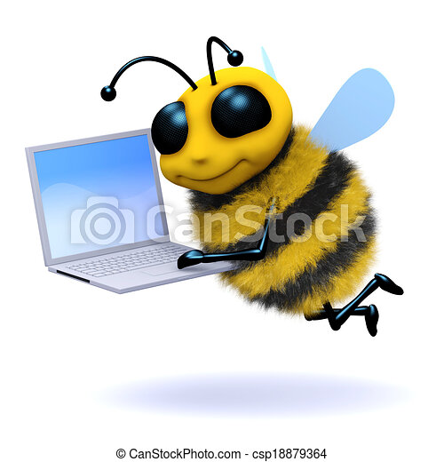 3d Bee Laptop 3d Render Of A Bee With A Laptop Canstock