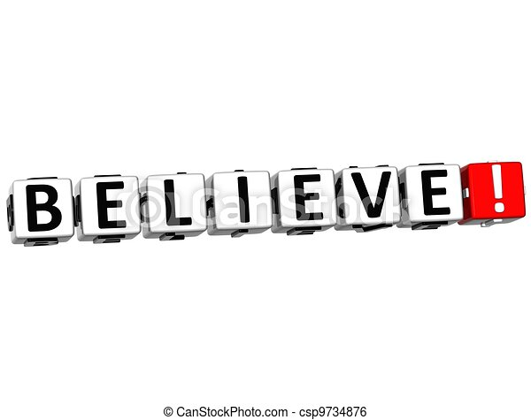 3D Believe Button Click Here Block Text - csp9734876