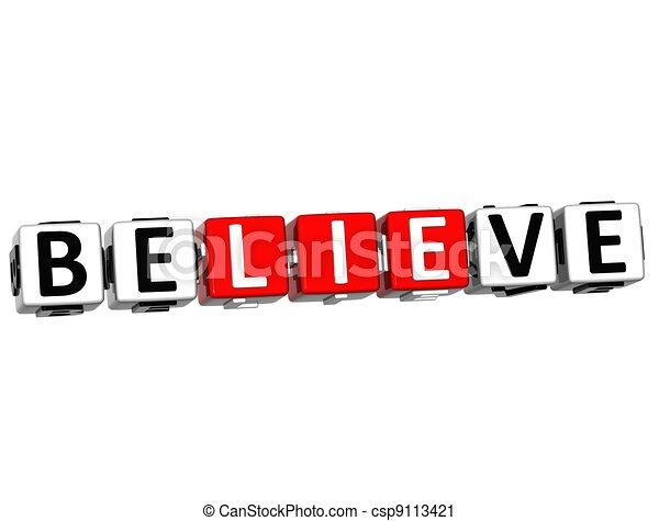 3D Believe in Yourself text - csp9113421