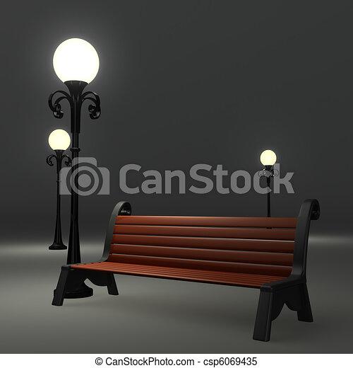 3d bench near the street lamppost o - csp6069435