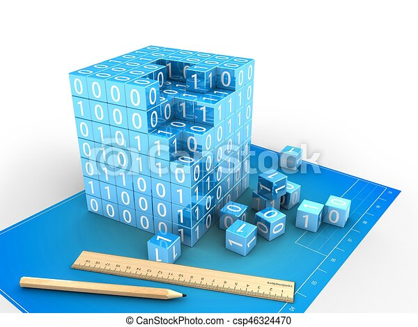 3d binary cube - csp46324470