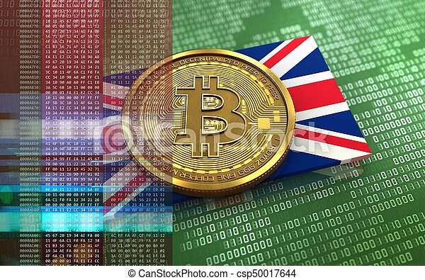 3d illustration of bitcoin over green binary background with UK flag