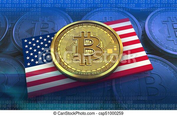 3d bitcoin USA flag - csp51000259