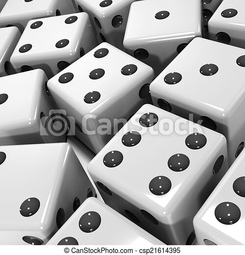 3d Black and white dice - csp21614395