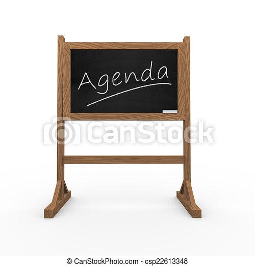 3d black chalkboard word agenda - csp22613348