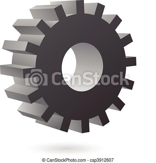 3d black cog - csp3912607