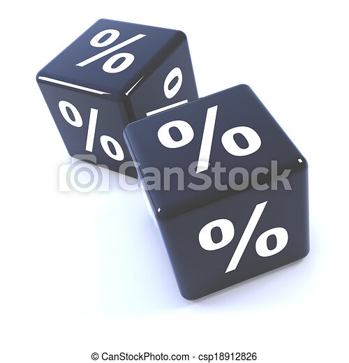 3d Black dice percentage symbols - csp18912826