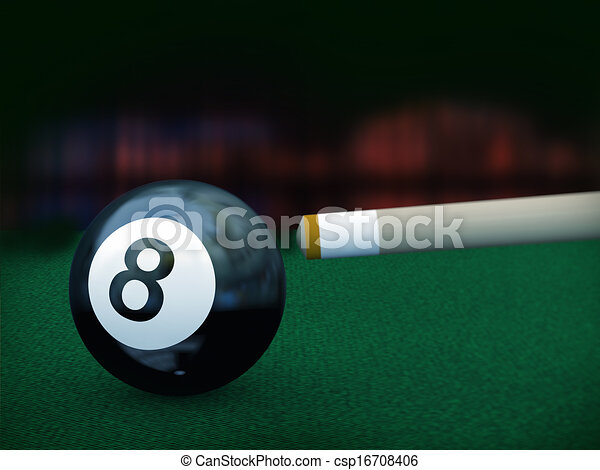 3d Black Eight Pool Ball 3d Illustration Of Cue Stick Set