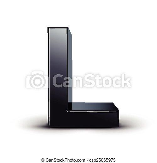 3d black letter l isolated on white background https www canstockphoto com 3d black letter l 25065973 html