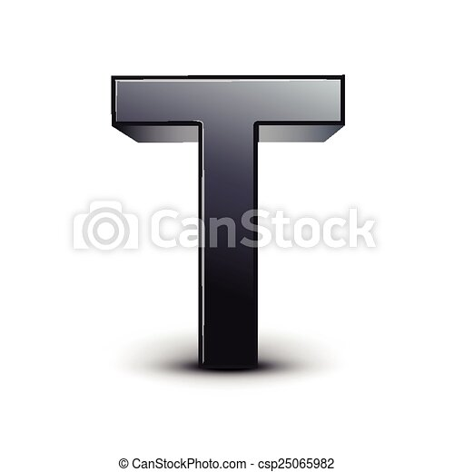 3d Black Letter T Isolated On White Background
