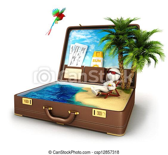 3d blanc gens paradis valise gens image isol fond - Dessin de valise ...