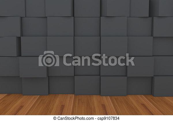 3d Blank Black Box With Wood Floor