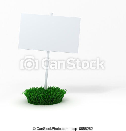 3d blank board on a patch of green fresh grass - csp10858282