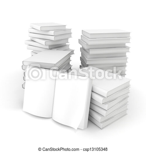 3d blank books on white background - csp13105348