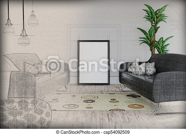 3D blank picture leaning against a wall in a room interior with half in sketch phase - csp54092509