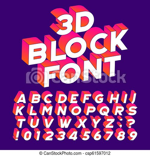 3D block alphabet font  Three-dimensional effect letters, numbers and  symbols