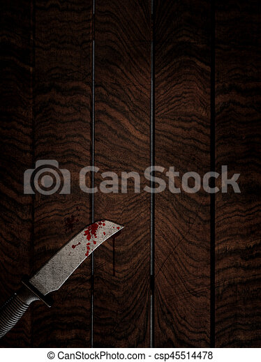 3D bloody knife on wooden table - csp45514478