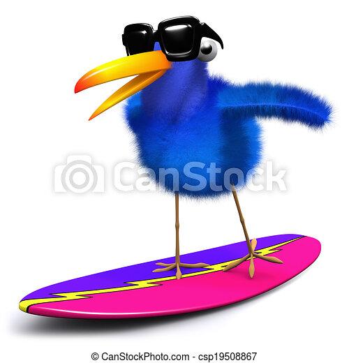 3d Blue bird surfing - csp19508867