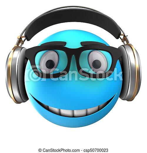 3d blue emoticon smile - csp50700023