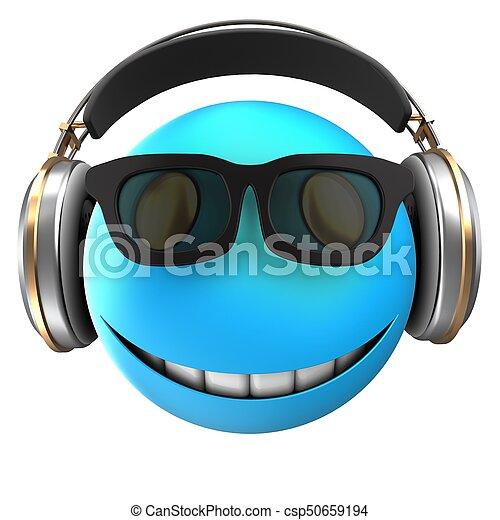 3d blue emoticon smile - csp50659194