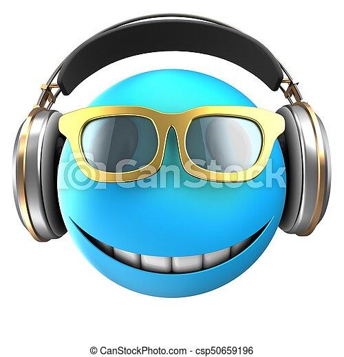 3d blue emoticon smile - csp50659196