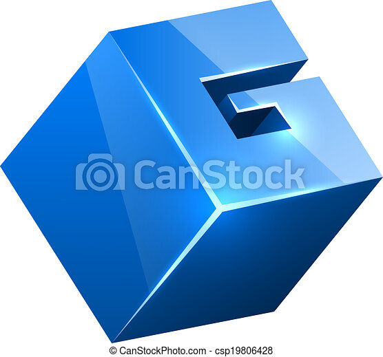 3D blue glossy G sign isolated on white background. - csp19806428