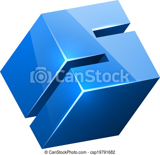 3D blue glossy S sign isolated on white background. - csp19791682