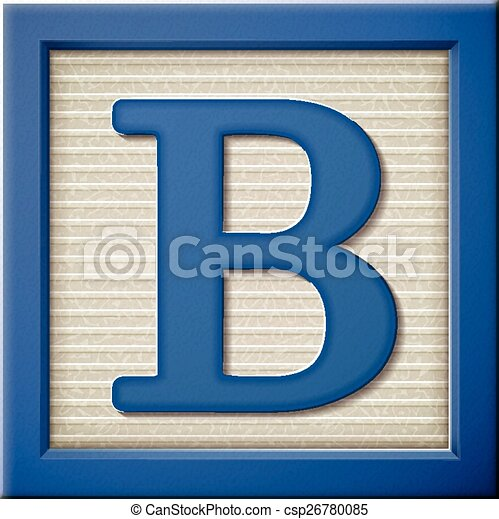 Close up look at 3d blue letter block b vector Search Clip Art