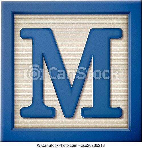 Close Up Look At 3d Blue Letter Block M